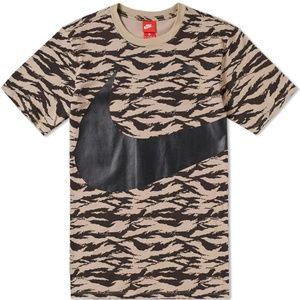 Nike AOP Big Swoosh T-Shirt Mens Sizes Khaki Black